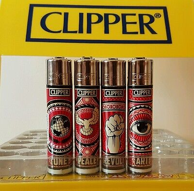 4 Rare Clipper Lighters - Red Socialist Art - One Peace Revolution x4 pcs