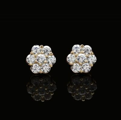 0.80Ct Round Created Diamond Flower Cluster Stud Earrings 14K Yellow Gold