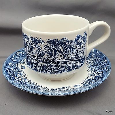 Churchill Currier and Ives Mill Dam Cup and Saucer Set Blue Transferware 8 oz