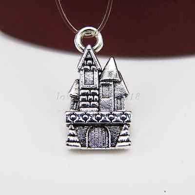 10/100pcs 20x10m Antique Silver Castle Tibetan Charms Pendant Jewelry Making