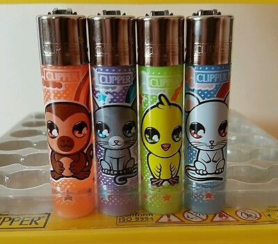 4 Rare Clipper Lighters - Cute Animals - Complete Collection x4 pcs