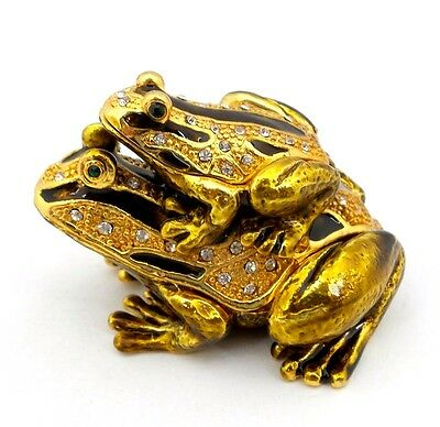 Double Frog Jewelry Trinket Box Bejeweled Gold Toad Decorative Collectible