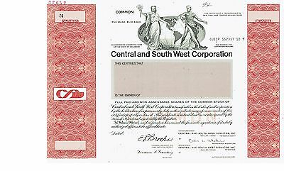Central and South West Corporation  - Specimen Stock Certificate