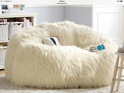 Large White Faux Fur Beanbag Cover  Gaming Chair Parents Retreat Media Room