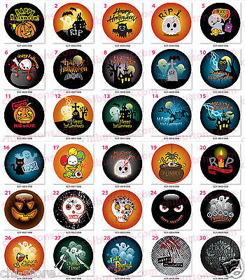 "Halloween holidays buttons - 37mm (1 1/2"")  6 pcs/pack (One Image Only) ----1-30"