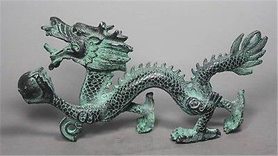 Collection Chinese Folk Old Bronze Handwork Dragon Statue NRR019