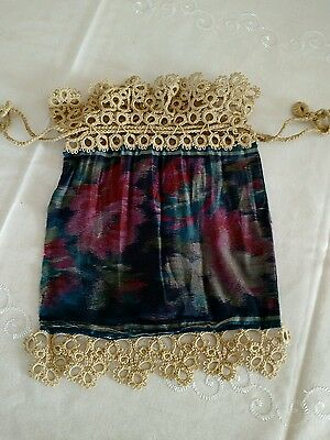 Antique Victorian Silk and Tatted Lace Drawstring Purse Reticule Very Fragile