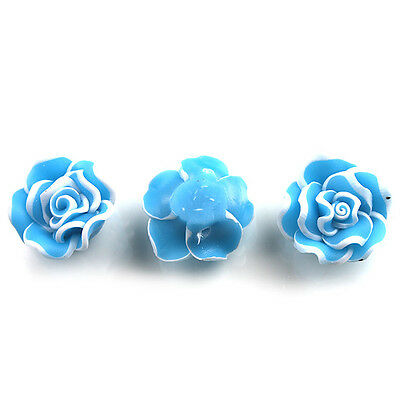 35pcs New Purfled Skyblue Rose Flowers FIMO Polymer Clay Spacer Beads 20mm D