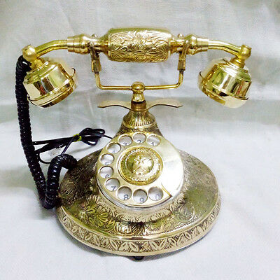 Solid Brass Vintage French Victorian Style Rotary Dial Phone Telephone
