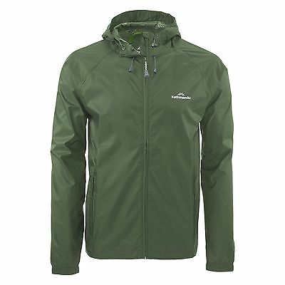 Kathmandu Pocket-it Mens Hooded Rain Jacket Light Packaway Coat v3 Green