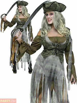 Ladies Zombie Pirate Costume Adult Halloween Fancy Dress Woman Ghost Ship Outfit
