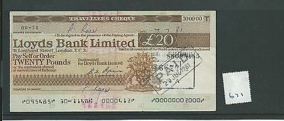 wbc. - CHEQUE - CH671 -  USED -1970's - LLOYDS, TRAVELLERS - £20.00