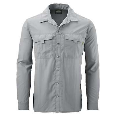 Kathmandu Kangsar Mens Long Sleeve Button Down Shirt Travel Hiking Top v4 Grey