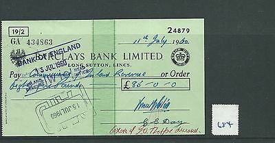 wbc. - CHEQUE - CH684 -  USED -1960's - BARCLAYS, LONG SUTTON, LINCS.