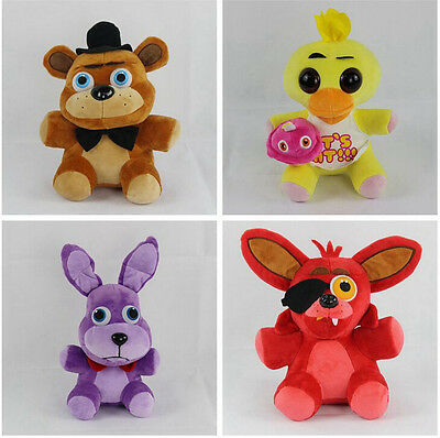 """Set of 4pc 7"""" FNAF Five Nights at Freddy's Chica Bonnie Foxy Plush Doll Toy new"""