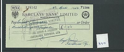 wbc. - CHEQUE - CH690 -  USED -1960s - BARCLAYS, MACCLESFIELD