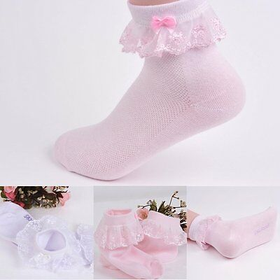 New Princess Girl Cute Sweet Kids Toddler Vintage Lace Ruffle Frilly Ankle Socks