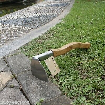 Gardening Digging Hoe Stainless Steel Head 37.5cm Wooden Handle Garden Hand Tool