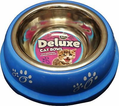 New Stainless Steel Dog Pet Dogs Cat Feeding Bowl 0.18L Blue Removable Dish