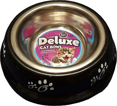 New Stainless Steel Dog Pet Dogs Cat Feeding Bowl 0.180L Black Removable Dish