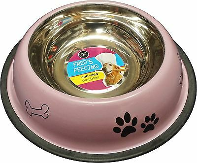 Non Slip Stainless Steel Dog Pet Dogs Cat Feeding Drinking Bowl 0.8L Pink