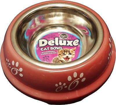 New Stainless Steel Dog Pet Dogs Cat Feeding Bowl 0.18L Pink Removable Dish