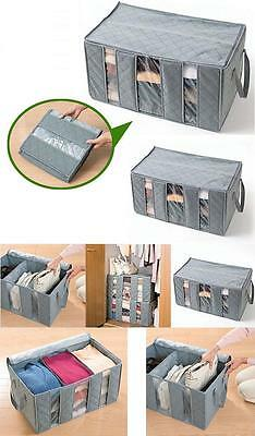 Bamboo Charcoal Folding Clothes Closet Organizer Storage Bag With Three Grid