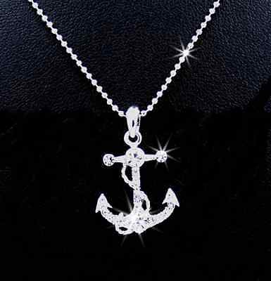 Anchor Necklace Nautical boat Austian crystal necklace best jewelry gift