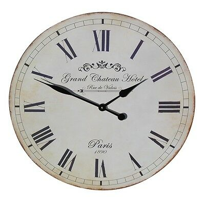 Large Grand Chateau Hotel Paris Wall Clock Vintage Shabby Chic Rustic New 60 cm