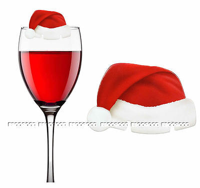 10PCS CHRISTMAS Santa Hat Wine GLASS DECORATIONS Table Red White Place Cards UK