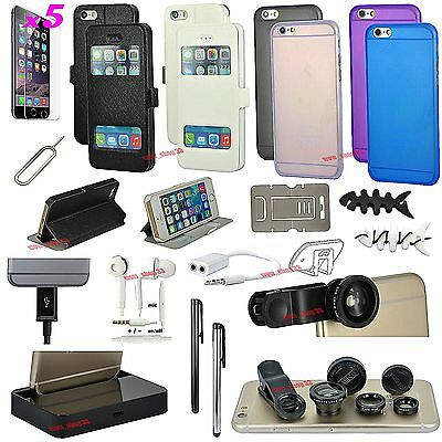 22 in 1 Accessory Bundle Pack Fish Eye Gel Case Cover Charger For iPhone 6 6S
