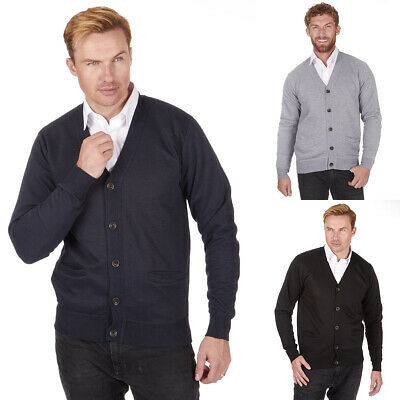 Men's Knitted Button Cardigan Sweater Casual Pull Over V Neck Golf Sizes M-2XL