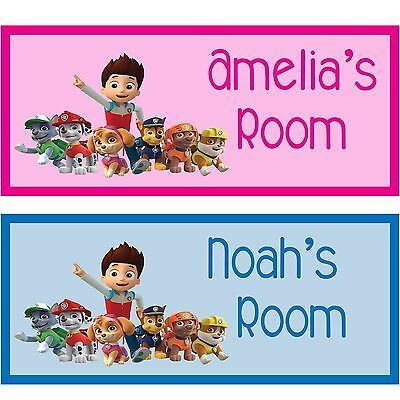 Paw Patrol personalised  hand made wooden door sign plaque any name gift idea