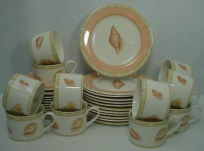 VICTORIA & BEALE china ATLANTIS 9044 pattern 36-pc DESSERT SET Cup Saucer Plate