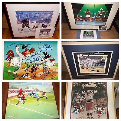 Warner Brothers 8 cel set Sports Legends SIGNED Animation cell Ali Jordan Jeter