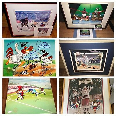 Warner Brothers Set 8 cels Sports Legends SIGNED Animation cell Ali Jordan Jeter