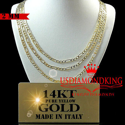 14K Real Solid Yellow Italian Gold Figaro Link Chain Necklace 2Mm 18''~20''