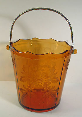 "Cambridge Glass Co - Amber Glass Ice Bucket - ""apple Blossom"" Etch  - Chrome Hdl"