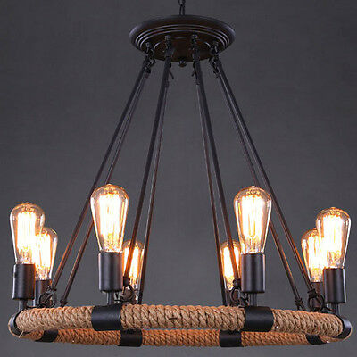 8-Light Vintage Industry Style Rope Round Chandelier with Filament Finish 33""