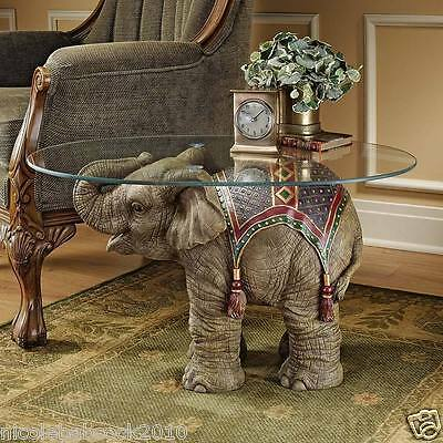 Ancient India Elephant Festival Sculptural Table Display W/ Glass 30 Lbs