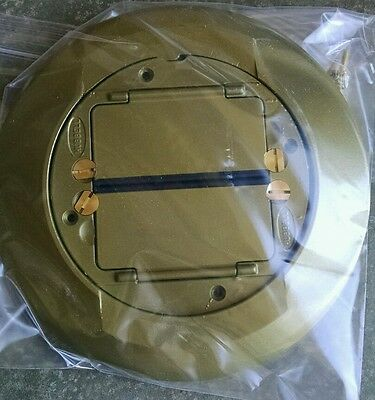 """"""" New in Box """" Hubbell System 1 Brass Carpet Floor Flange and Cover  S1CFCBRS"""