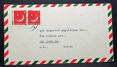 Pakistan Airmail Cover to New York USA Pair Paar auf Luftpost Brief (I-4686