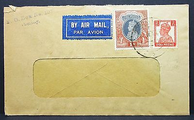 India Postage Cover Box Bombay by Airmail - Indien Luftpost Brief (I-4692