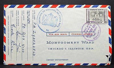 Costa Rica Airmail Cover Legacion de Holanda Stamp Luftpost Brief USA (I-4645