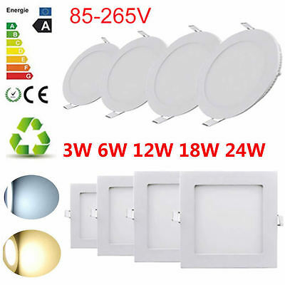 Surface Mounted LED Panel Light Round/Square Ceiling Downlight 6/12/18/24W Lamp
