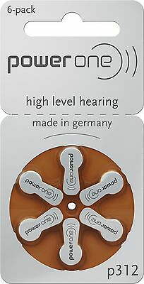 Power One p312 Hearing Aid Battery (10 Packs of 6 Each)
