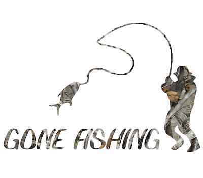 "8"" Camouflage Gone fishing skillet funny sticker cool gift for fisherman decal"