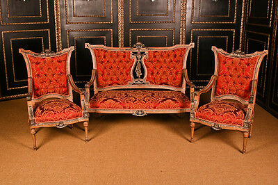 french Lounge suite Chair in the old antique Louis Seize Baroque Style