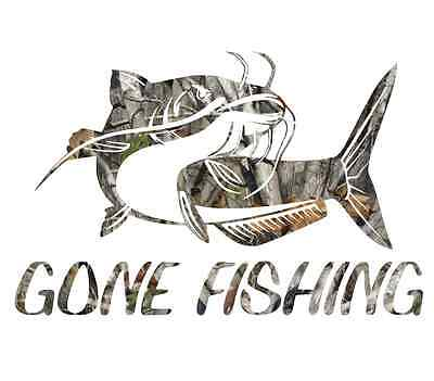 "8"" Camouflage Gone fishing skillet funny sticker cool gift for him catfish decal"