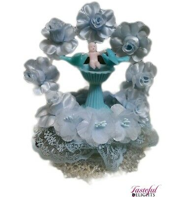 Christening Cake Topper Baby Font Top Blue
